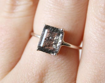 Black Rutilated Quartz Ring, Emerald Cut Tourmalinated Quartz Ring, 9x7 Emerald Cut Ring, Rutilated Quartz Ring, Unique Engagement Ring