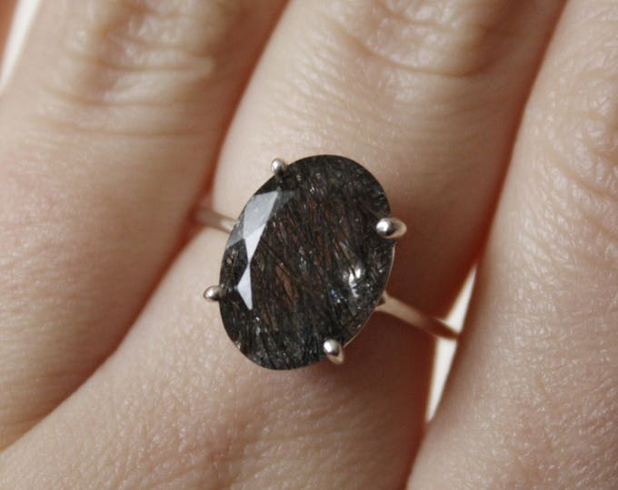 Black Rutilated Quartz Ring, Tourmalinated Quartz Ring, 14x10 Oval Faceted, Rutilated Quartz Ring, Black Rutilated Quartz Engagement Ring