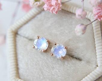 5mm Round Faceted Moonstone Stud Earrings