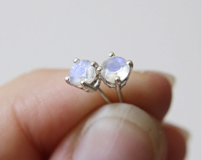 4mm Round Faceted Moonstone Stud Earrings