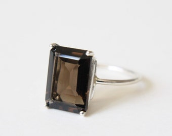 14x10 Emerald Cut Smokey Quartz Ring
