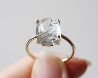 12x10 Oval Cabochon Tourmalinated Quartz Ring