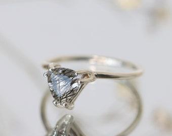 7mm Trillion Tourmalinated Quartz Ring