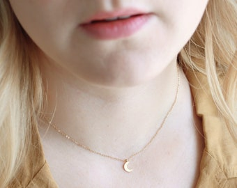 Gold Fill Crescent Moon Necklace