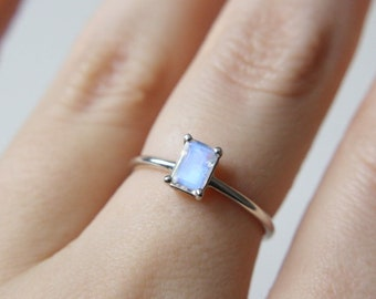 6x4 Emerald Cut Faceted Moonstone Ring