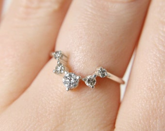 Salt and Pepper Diamond Artemis Crown Ring