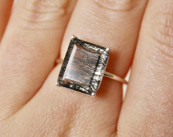 12x10 Emerald Cut Faceted Tourmalinated Quartz Ring
