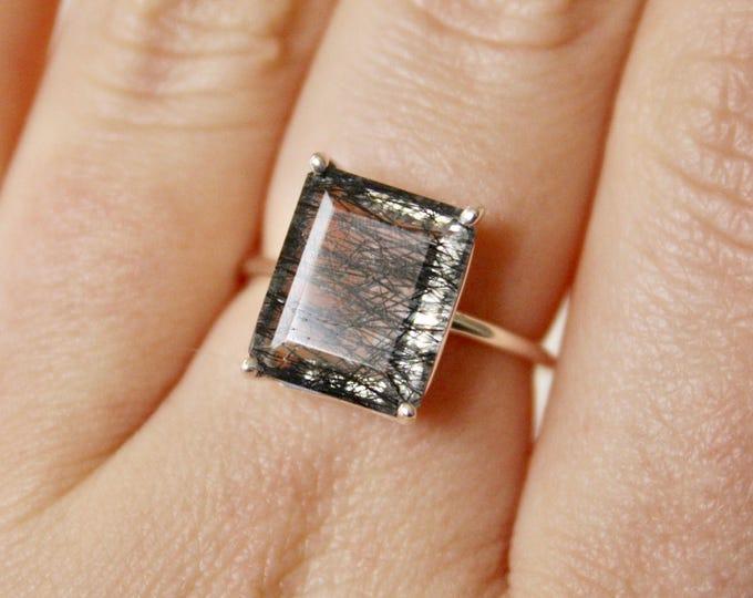 Black Rutilated Quartz Ring, Tourmalinated Quartz Ring, 12x10 Emerald Cut Ring, Rutilated Quartz Ring, Black Rutilated Quartz Jewelry