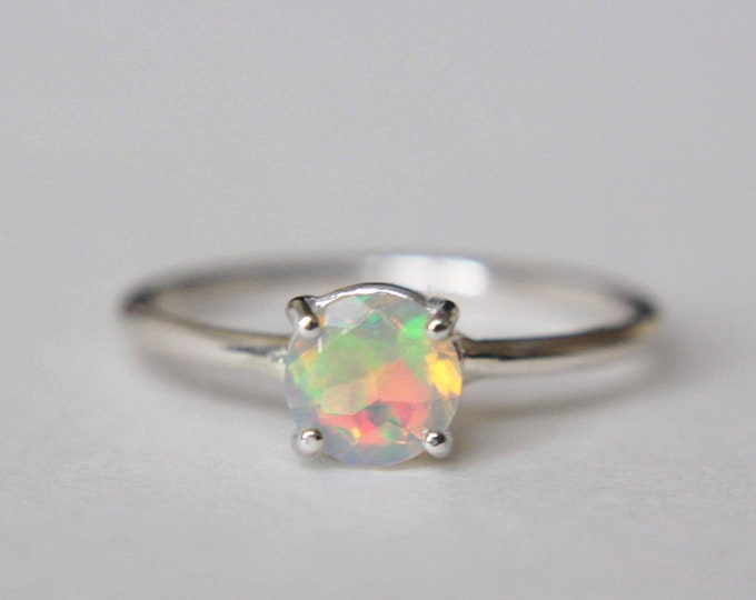 6mm Round Faceted Ethiopian Opal Ring