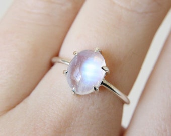 6 Prong Moonstone Ring