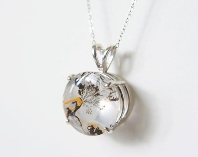 16mm Round Dendritic Quartz Pendant Necklace