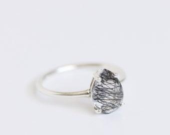 10x7 Pear Tourmalinated Quartz Ring