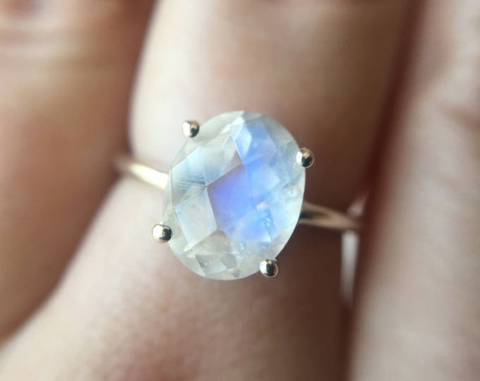10x8 Oval Checkerboard Faceted Moonstone Ring