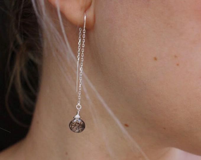 Tourmalinated Quartz Thread Earrings