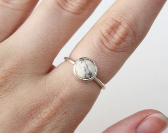 Marble Howlite Cabochon Bezel Set Stacking Ring in sterling silver or 14k gold - yellow gold - rose gold - white gold - stackable ring