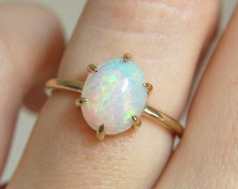 6 Prong Ethiopian Opal Cabochon Ring