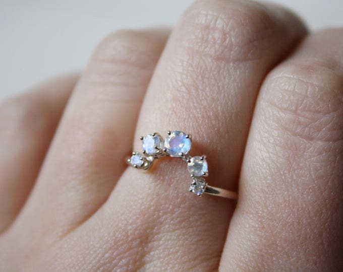Moonstone Ring, Curved Wedding Band, Moonstone Wedding Band, Crown Wedding Band, Arc Ring, Moonstone Wedding Set, June Birthstone Ring