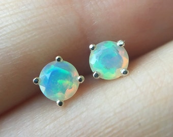 4mm Round Faceted Ethiopian Opal Stud Earrings