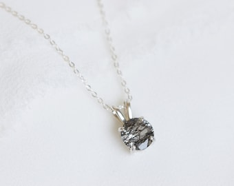 7mm Round Faceted Tourmalinated Quartz Necklace