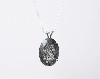 Large Tourmalinated Quartz Necklace