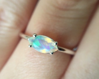 8x4 Marquise Faceted Ethiopian Opal Ring