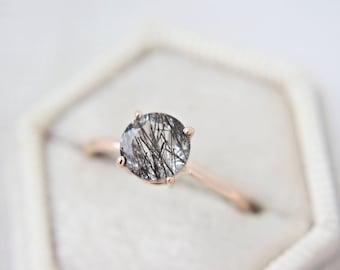 8mm Round Faceted Tourmalinated Quartz Ring