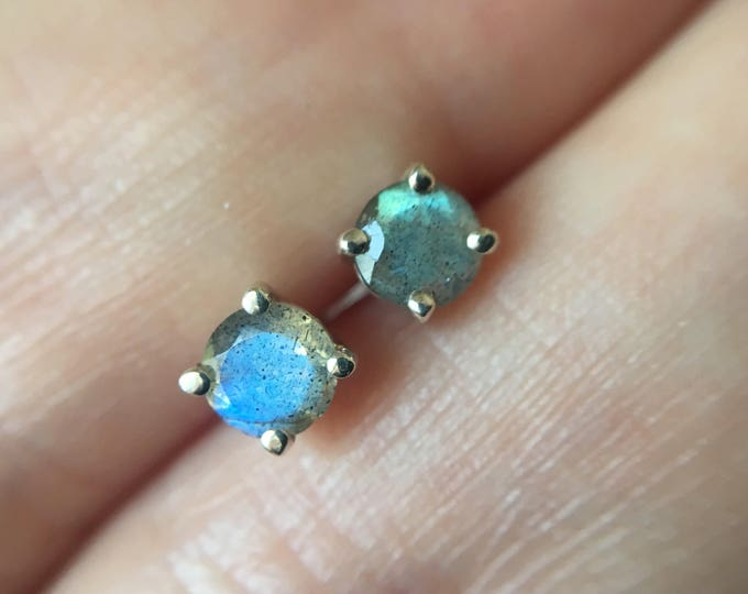 4mm Round Faceted Labradorite Stud Earrings