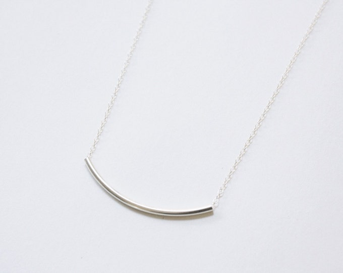 Curved Bar Necklace, Sterling Silver Bar Necklace, Inexpensive Bridesmaids Gift, Simple Wedding Necklace, Simple Silver Necklace