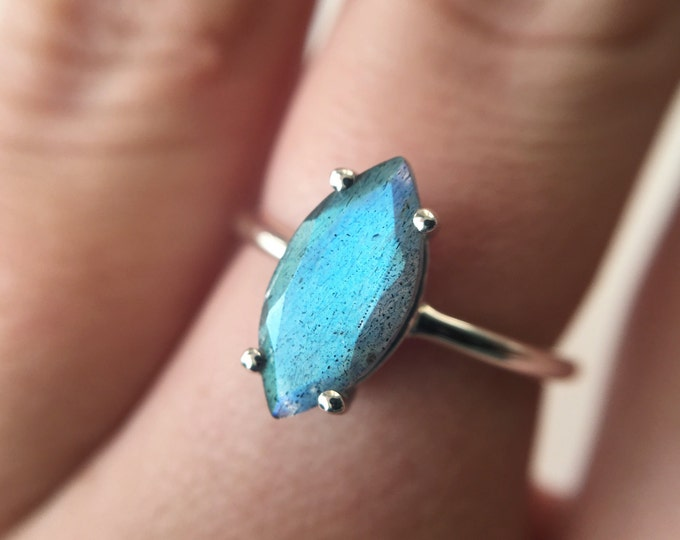 12x6 Marquise Faceted Labradorite Ring