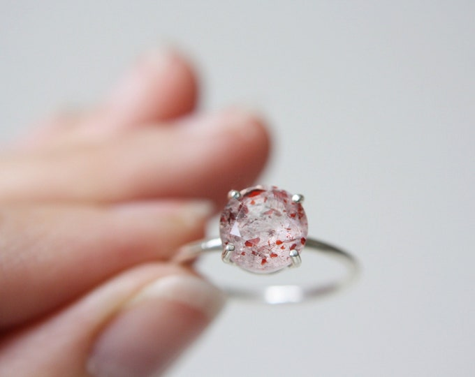 Strawberry Quartz Ring, Red Fire Quartz Ring, Lepidocrocite Ring, 8mm Round Faceted Strawberry Quartz Ring, Rutilated Quartz Engagement Ring