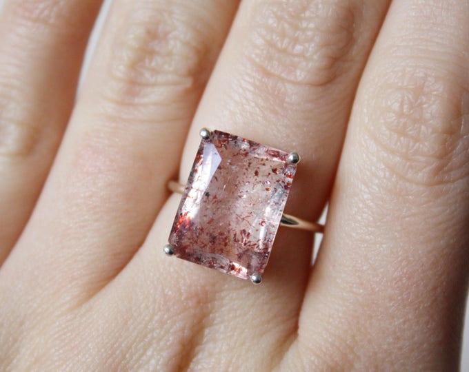 16x12 Emerald Cut Faceted Fire Quartz Ring