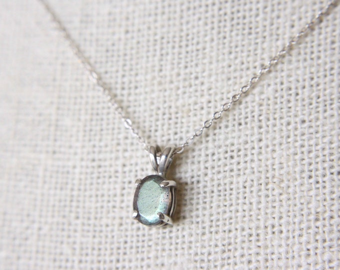 7x5 Oval Faceted Labradorite Necklace