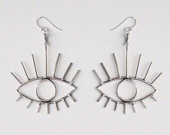 Bright Eyes Earrings, Statement Earrings, Evil Eye Earrings, Eye Jewelry, Eye Catching Earrings, Unique Earrings, Large Silver Earrings