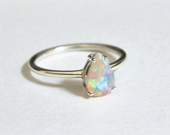 8x5 Pear Cut Ethiopian Opal Ring