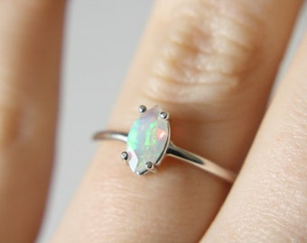 Faceted Opal Ring, 8x4 Marquise Opal Ring, Ethiopian Opal Ring, Opal Engagement Ring, October Birthstone, Unique Engagement Ring
