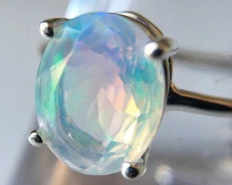 10x8 Oval Faceted Ethiopian Opal Ring