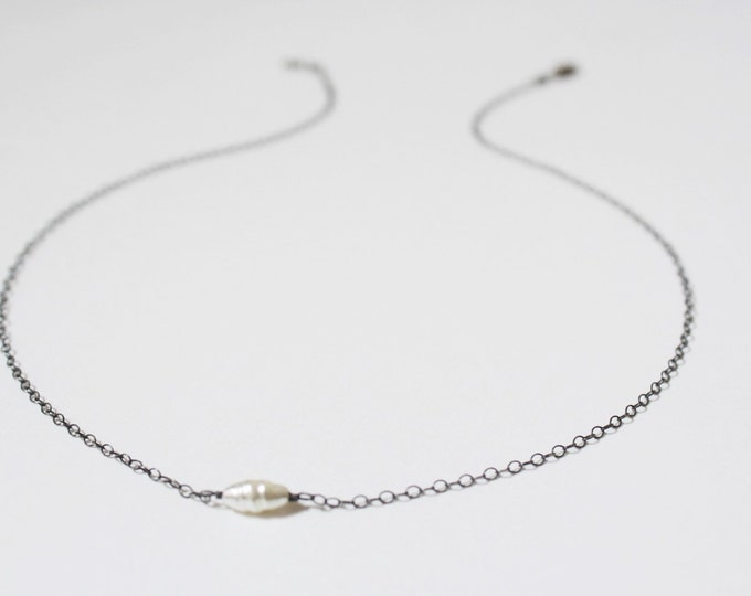 Oxidized Sterling Silver Pearl Choker Necklace