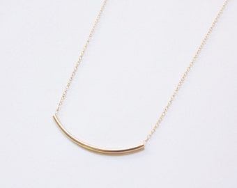 Gold Fill Curved Bar Necklace