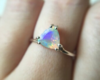 7mm Faceted Trillion Opal Ring