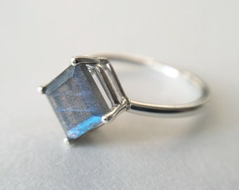 7mm Princess Cut Faceted Labradorite Ring