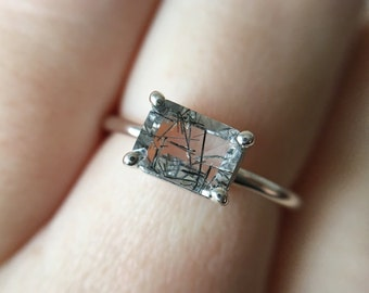 7x5 Emerald Cut Tourmalinated Quartz Ring
