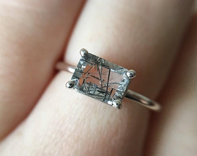 7x5 Emerald Cut Tourmalinated Quartz Ring