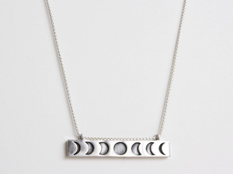 Moon Phase Necklace Sterling Silver Moon Necklace Crescent image 0
