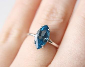 12x6 Marquise Cut London Blue Topaz Ring