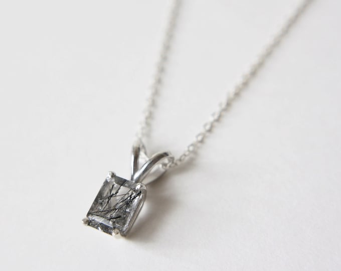 7x5 Emerald Cut Faceted Tourmalinated Quartz Necklace