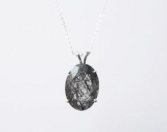 Large Oval Tourmalinated Quartz Necklace