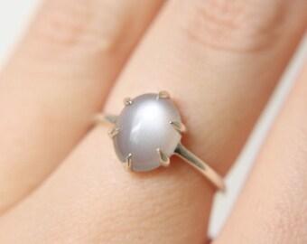 6 Prong Grey Moonstone Ring