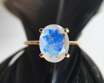 10x8 Oval Faceted Moonstone Ring