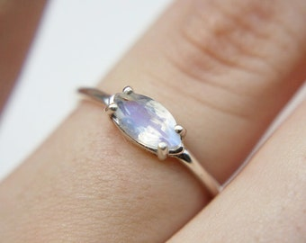 8x4 Faceted Marquise Moonstone Ring