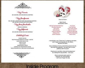 Sweet 15 Or 16 Program Programa Personalized Folded Card 5x7 Any Theme Phantom Opera Set Of 30